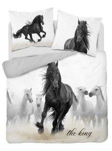 Pościel bawełniana HOLLAND COLLECTION NATURA 160 x 200 cm HORSES Konie komplet pościeli (3820A)