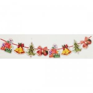 Girlanda papierowa świąteczna DZWONKI PREZENTY CHOINKA BOMBKI (998-2)