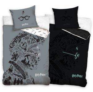 ZESTAW 3 el. Pościel bawełniana świecąca w ciemności 160x200 + RĘCZNIK + PODUSZKA Harry Potter (HP213009SET3CZ)