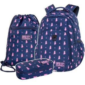 ZESTAW 3 el. Plecak CoolPack STRIKE L 27 L kotki, NAVY KITTY (C18240SET3CZ)