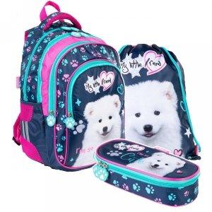 ZESTAW 3 el. Plecak szkolny St. Majewski My Little Friend CUTE DOG Piesek BP58 (34550SET3CZ)