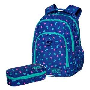 ZESTAW 2 el. Plecak CoolPack STRIKE L 27 L psie łapki, PUPPY LOVE (C18253SET2CZ)