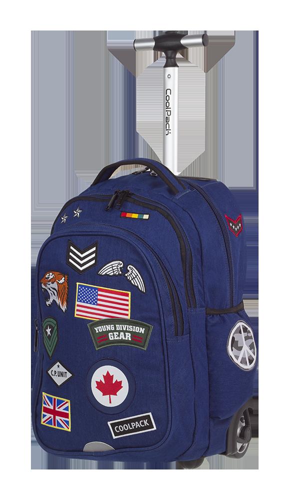 Plecak szkolny młodzieżowy na kółkach COOLPACK JUNIOR niebieski w znaczki, BADGES NAVY (89645)