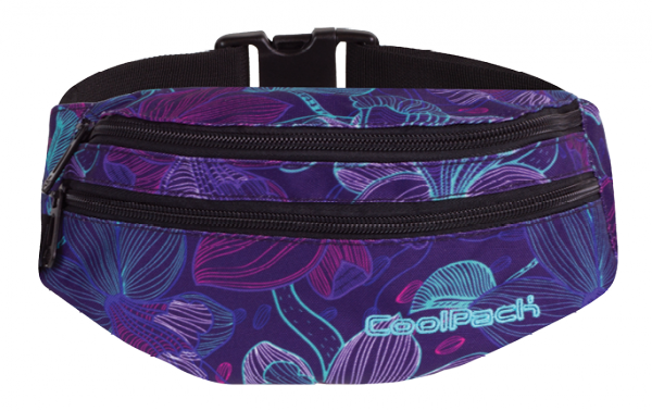 Saszetka na pas torba nerka COOLPACK MADISON fioletowa w kwiaty, LUNAR BLOSSOM 799 (74636)