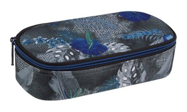 Piórnik CoolPack CAMPUS  niebieskie kwiaty na grafitowym tle, BLUE HIBISCUS (86926CP)