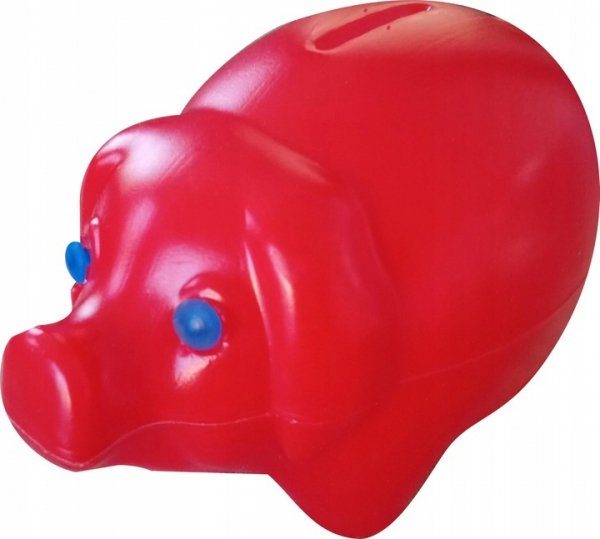 Skarbonka świnka plastikowa CZERWONA (00172)