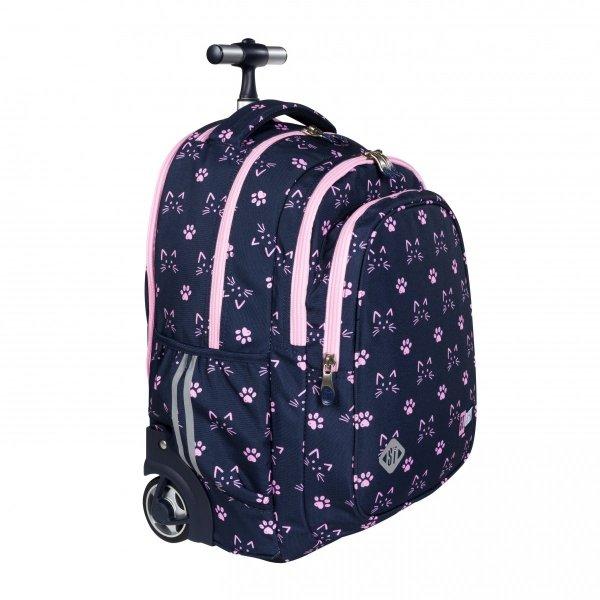ZESTAW 2 el. Plecak szkolny młodzieżowy na kółkach ST.RIGHT w kocie łapki, CATS & PAWS TB1 (27347SET2CZ)