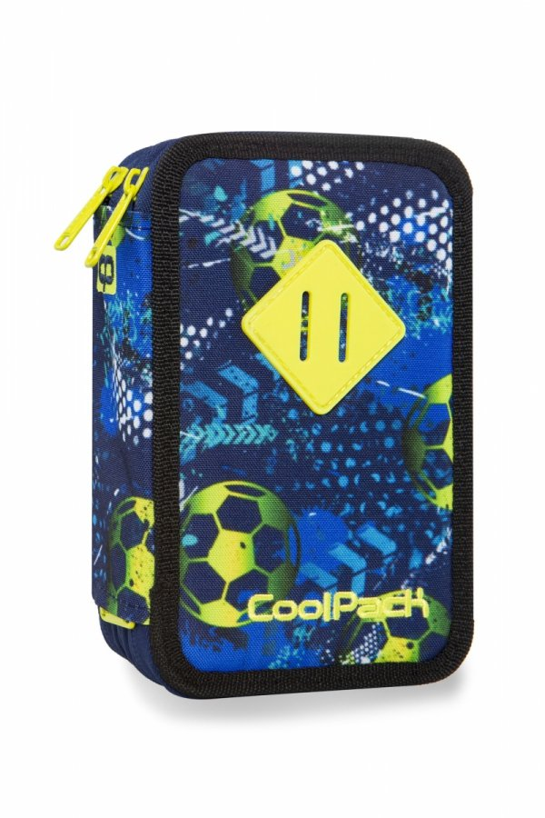 Piórnik CoolPack potrójny z wyposażeniem JUMPER 3 w piłkę nożną, FOOTBALL BLUE (B67037)