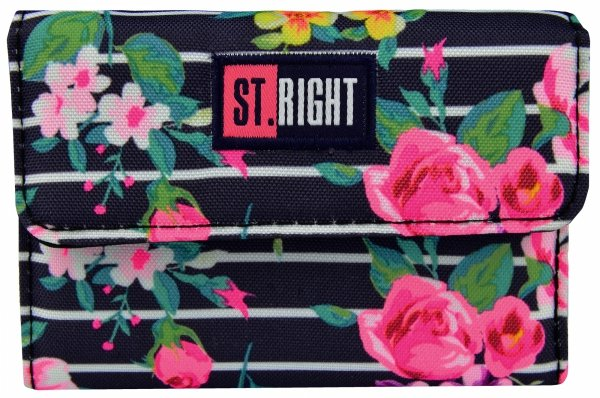 Portfel ST.RIGHT granatowy w pastelowe róże, LIGHT ROSES NW-02 (18543)