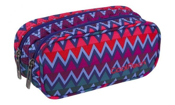 Piórnik CoolPack CLEVER dwukomorowy saszetka kolorowe zygzaki, CHEVRON STRIPES (82393CP)