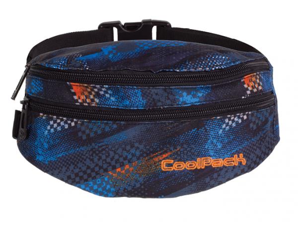 SASZETKA NERKA CoolPack na pas torba MADISON w niebiesko - pomarańczowe wzory, TIRE TRACKS 757 (73424)