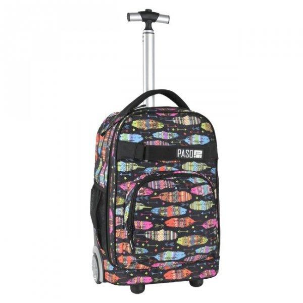 Plecak szkolny, młodzieżowy na kółkach OUILL AND ARROW, kolorowe piórka PASO (171230UA)