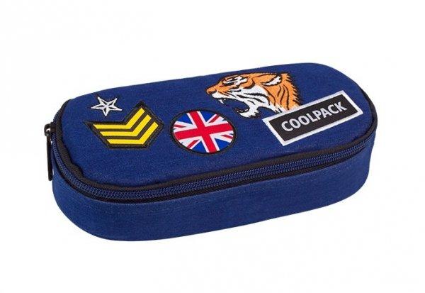 Piórnik szkolny COOLPACK CAMPUS niebieski w znaczki, BADGES NAVY (89708)