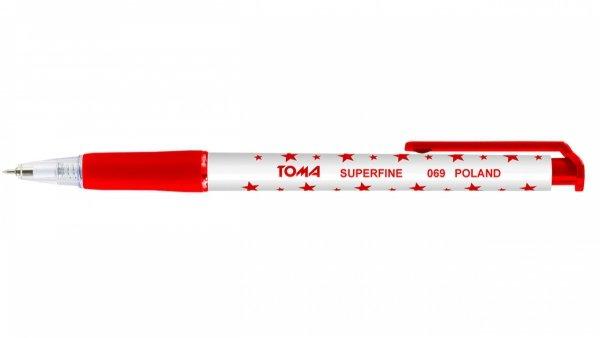 Długopis automatyczny w gwiazdki TOMA, czerwony (TO-069)