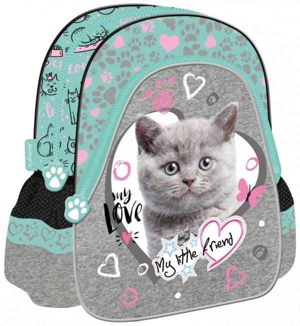 Plecak szkolno-wycieczkowy St. Majewski, My Little Friend CAT MINT kotek w turkusie (04852)