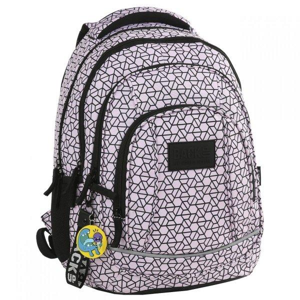 Zestaw 2 el. Plecak szkolny + Piórnik  BackUP czarne wzory, ŚRUBKI (PLB2A02)