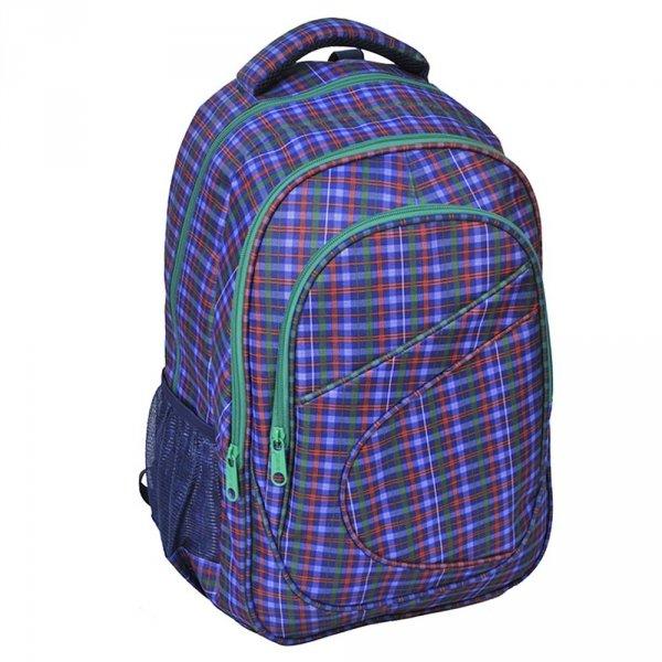 Plecak szkolny młodzieżowy w niebiesko-zieloną kratę (158115B)
