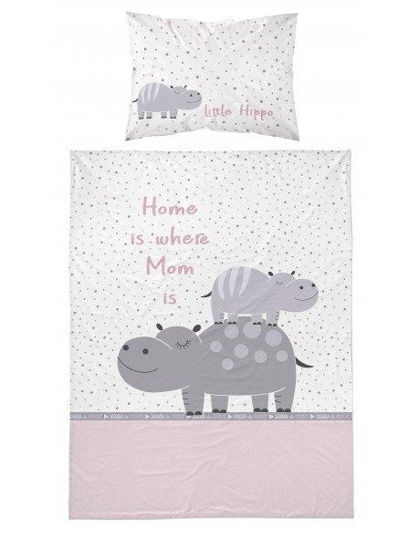 Pościel niemowlęca 100x135 Little Hippo Różowa (2994A)