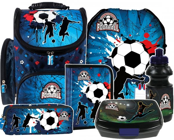 ZESTAW 6 el. Tornister szkolny ergonomiczny FOOTBALL Piłka nożna (TEMBPI12SET6CZ)