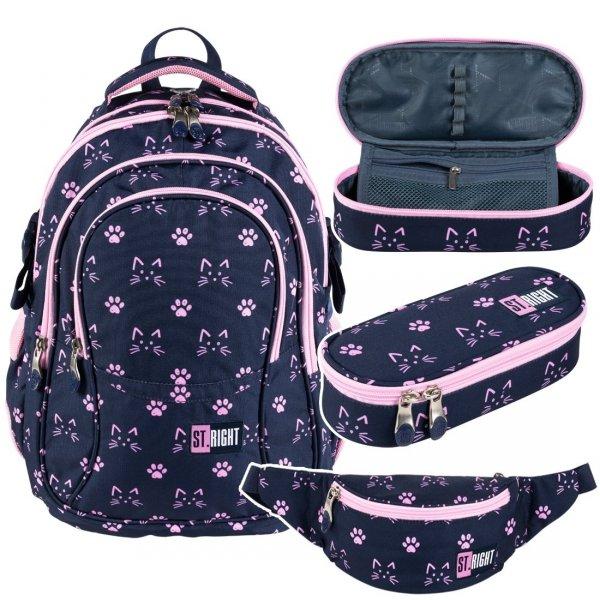 ZESTAW 3 el. Plecak szkolny młodzieżowy ST.RIGHT w kocie łapki, CATS & PAWS BP1 (27354SET3CZ)