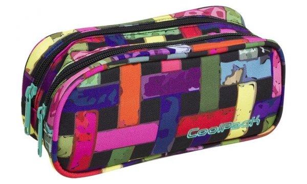 Piórnik CoolPack CLEVER dwukomorowy saszetka kolorowa przeplatanka, RIBBON GRID (87964CP)