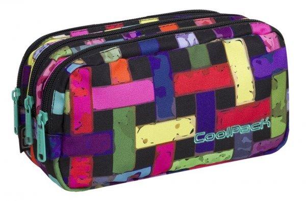 Piórnik CoolPack PRIMUS saszetka trzykomorowa kolorowa przeplatanka, RIBBON GRID (87995CP)