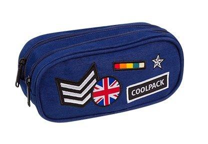 Piórnik CoolPack CLEVER dwukomorowy saszetka granatowy w znaczki, BADGES NAVY (89678)