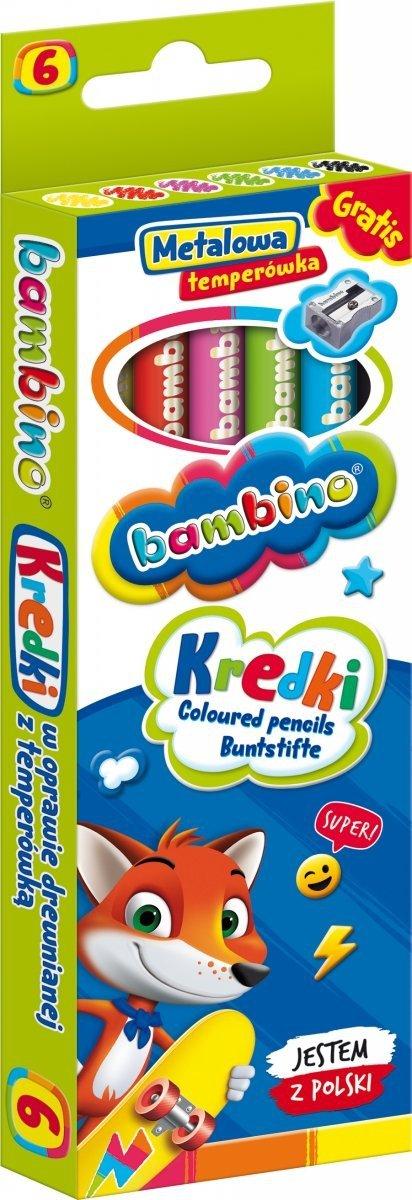 Kredki BAMBINO w oprawie drewnianej 6 kolorów + temperówka (00232)