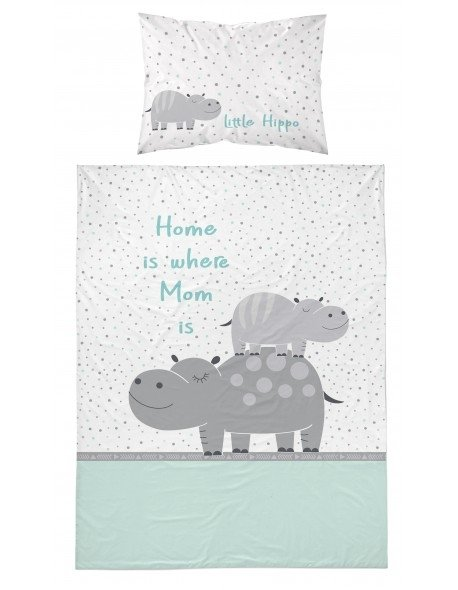 Pościel niemowlęca 100x135 Little Hippo Turkusowa (2994B)