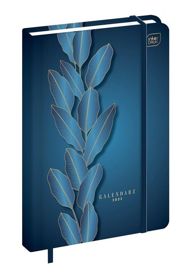 Kalendarz książkowy A5 METALLIC BLUE LEAF Liście 2022 (00263)