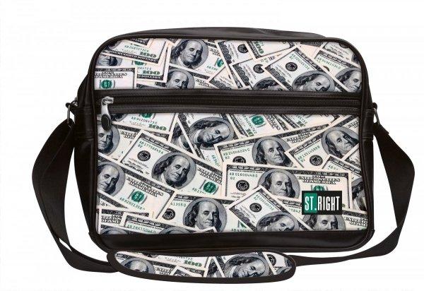 Torba szkolna na ramię, na format A4 młodzieżowa ST.RIGHT czarna w dolary, DOLLARS SB2 (17225)