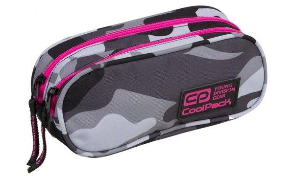 Piórnik CoolPack CLEVER dwukomorowy saszetka moro z różowymi dodatkami, CAMO PINK NEON (89036cp)