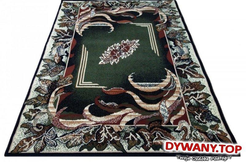 Wzorzysty dywan w liście - ciemno zielony