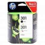 Oryginalny, kompatybilny Zestaw dwóch tuszy HP 301 do Deskjet 1000/2000 | 2 x3 ml | CMY/K