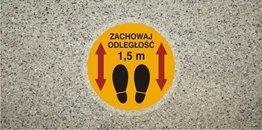 Znak antypoślizgowy zachowaj odległość 1,5 m samoprzylepny