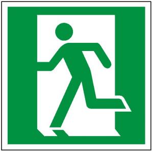 Znak wyjście ewakuacyjne lewostronne  E01 (F.F.) 150X150