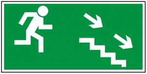 Kierunek do wyjścia drogi ewakuacyjnej schodami w dół na prawo 106 (FF)