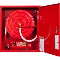 Hydrant wewnętrzny z miejscem na gaśnice pod spodem z wężem półsztywnym 25/30+G zawieszany czerwony wertykalny