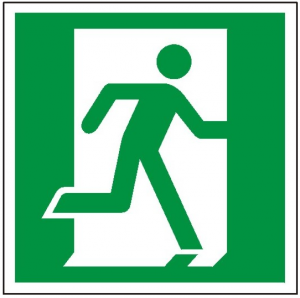 Znak wyjście ewakuacyjne prawostronne E02 (P.F.) 150X150