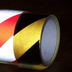 Taśma odblaskowa żółto-czarna 5m/5cm