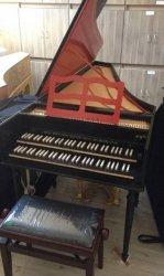 FRED BETTENHAUSEN of HAARLEM klawesyn francuski dwumanuałowy zbudowany na wzór Gullaume Hemsch 1763; skala: FF – f'''; rejestry: 2 x 8', 4', lutnia; transpozycja 392/415/440 Hz; kolor czarno-czerwony; rok produkcji 2018.