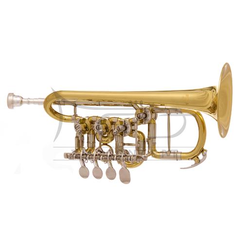 JOHN PACKER trąbka piccolo A/B JP154 4 wentyle obrotowe, lakierowana, z futerałem