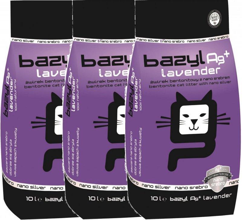Bazyl Ag+ Lavender - żwirek z nanosrebrem, lawendowy 3x10l