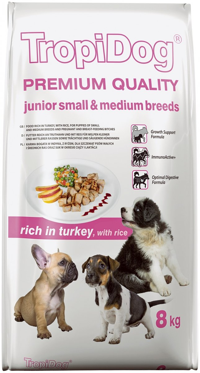 Tropidog Premium Junior Small & Medium Breeds - Indyk i Ryż 8kg
