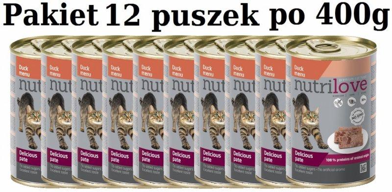 Nutrilove Premium Pyszny pasztet - danie z kaczki dla kota 12x400g