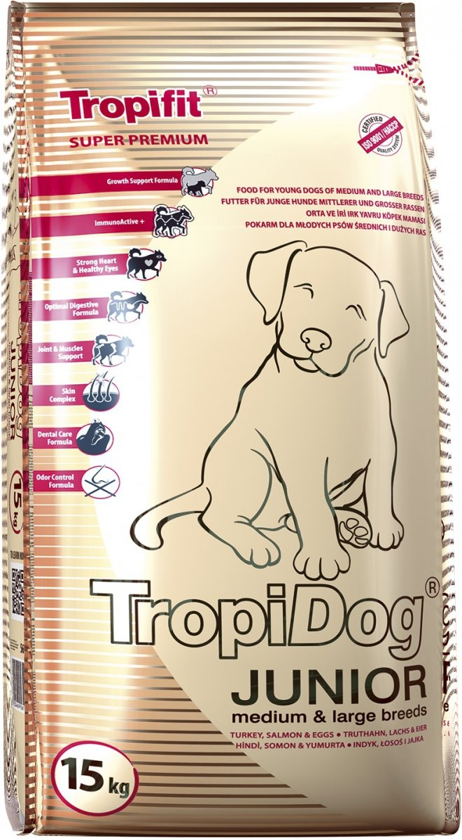 Tropidog Super Premium Junior Medium & Large Breeds Turkey&Salmon&Eggs 15kg