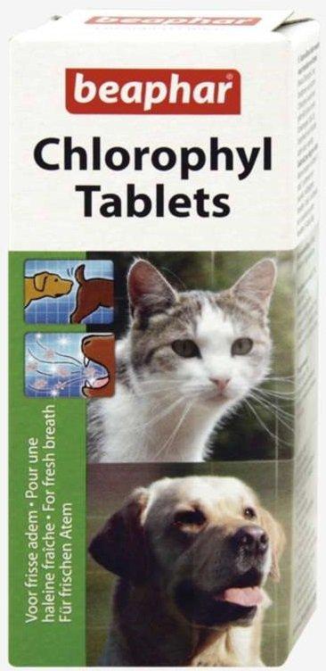 Beaphar Chlorophyl Tablets - odświeża oddech, likwiduje niepożądane zapachy zwierząt 30szt.