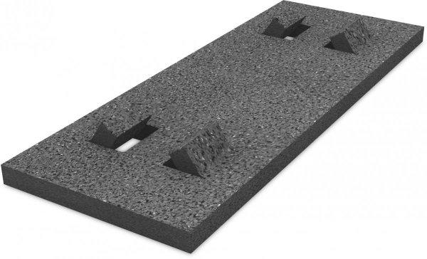 K2 Płyta gumowa ochronna, dach płaski , 470x180x18 mm, bez folii aluminiowej (izolacja bitumiczna)