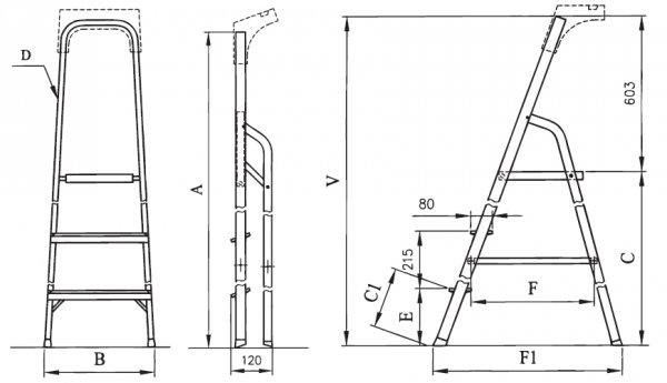 Drabina domowa aluminiowa ALW03