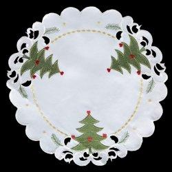 Obrus GRACJA Świąteczny 30 Kremowo Zielony